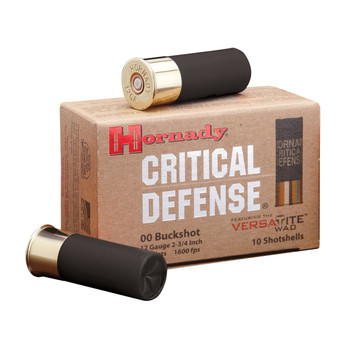 "Hornady Critical Defense, 12 Gauge, 2.75"", 00 Buck, Buckshot, 10 Round Box 86240, UPC : 090255862409"