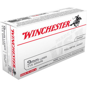 Winchester Ammunition USA, 9MM, 115 Grain, Full Metal Jacket, 50 Round Box Q4172, UPC : 020892201989