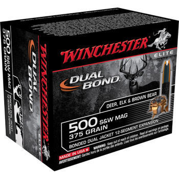 Winchester Ammunition Supreme Elite, 500 S&W, 375 Grain, DB, 20 Round Box S500SWDB, UPC : 020892217799