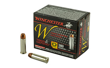 Winchester Ammunition W - Train & Defend, 38 Special, 130 Grain, Jacketed Hollow Point, Low Recoil, 20 Round Box W38SPLD, UPC : 020892220539