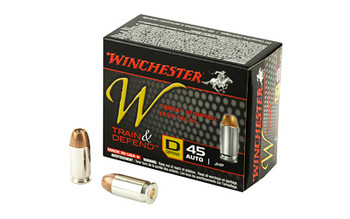 Winchester Ammunition W - Train & Defend, 45 ACP, 230 Grain, Jacketed Hollow Point, Low Recoil W45D, UPC : 020892221659
