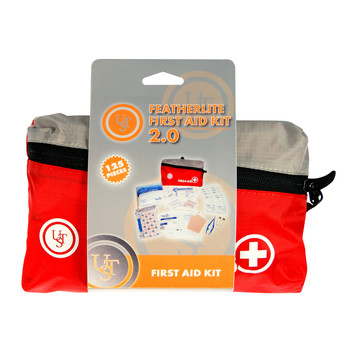 """UST - Ultimate Survival Technologies Featherlite First Aid Kit 2.0, 125 Pieces, Red Finish, Contains: Acetaminophen (4), Alcohol Prep Pads (12), Antibiotic Ointment Packets (3), Antiseptic Towelettes (18), Aspirin Tablets (4), Bandage Adhesive 3"""" x 1"""