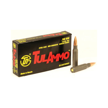 TulAmmo USA Steel Case, 308WIN, 150 Grain, Full Metal Jacket, Bi-Metal Casing, Non Corrosive, 20 Round Box TA308150, UPC :814950011289