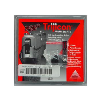 Trijicon Tritium Night Sight, Fits Colt 1911, Green/Green, 3 Dot, .125 Tenon CA01, UPC :719307200029