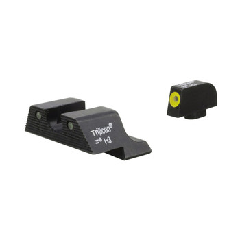 Trijicon HD XR Night Sight Set, 3 Dot Green Tritium With Yellow Front Outline, Fits Glock 17/19/26/27/33/34 GL601-C-600836, UPC :719307213869
