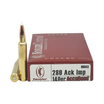 Nosler Trophy Grade Ammunition 280 Ackley Improved 140 Grain AccuBond Box of 20, UPC : 054041600439