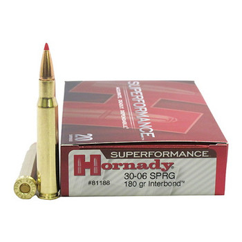 Hornady Superformance Ammunition 30-06 Springfield 180 Grain InterBond Boat Tail Box of 20, UPC : 090255811889