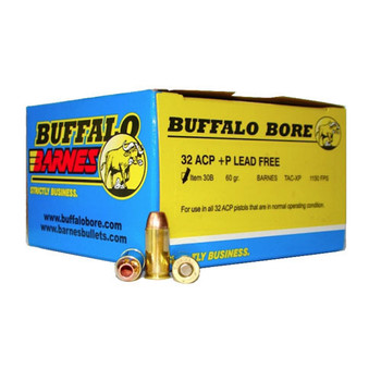Buffalo Bore Ammunition 32 ACP +P 60 Grain Barnes TAC-XP Hollow Point Lead-Free Box of 20, UPC :651815030029