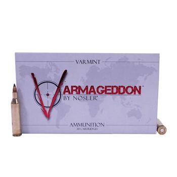 Nosler Varmageddon Ammunition 17 Remington 20 Grain Tipped Flat Base Box of 20, UPC : 054041651059