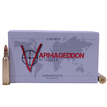 Nosler Varmageddon Ammunition 22-250 Remington 55 Grain Hollow Point Flat Base Box of 20, UPC : 054041651509
