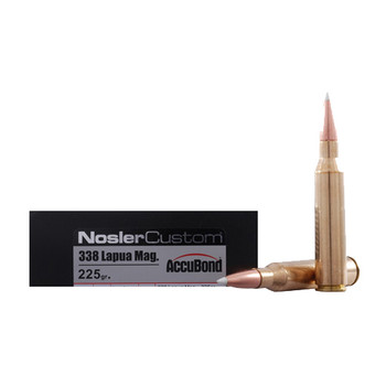 Nosler Trophy Grade Ammunition 338 Lapua Magnum 225 Grain AccuBond Box of 20, UPC : 054041600859