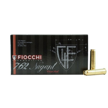 Fiocchi Ammunition 7.62mm Russian Nagant (7.62x38mmR) 98 Grain Full Metal Jacket Box of 50, UPC :762344001449