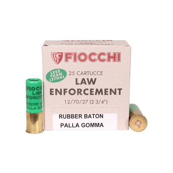 "Fiocchi Less Lethal Ammunition 12 Gauge 2-3/4"" 4.8 Gram Rubber Baton Slug Box of 25, UPC :762344005249"