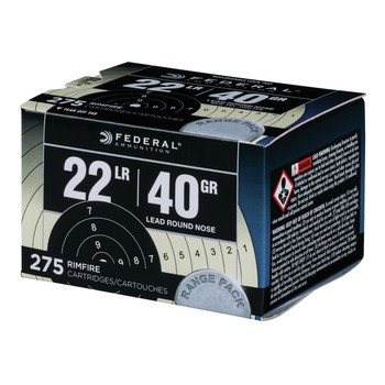 Federal Range & Field, 22LR, 40 Grain, Lead Round Nose, 275 Round Box 729, UPC :604544620658