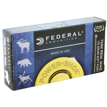 Federal PowerShok, 7MM REM, 175 Grain, Soft Point, 20 Round Box 7RB, UPC : 029465084448