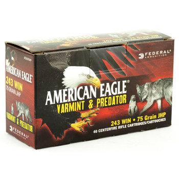 Federal American Eagle Varmint & Predator, 243 Win, 75 Grain, Jacketed Hollow Point, 40 Round Box AE24375VP, UPC :604544617658