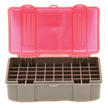 Plano Ammunition Box, Holds 50 Rounds of .41 Mag/.44 Mag/.45 LC Handgun Rounds, Charcoal/Rose , 6 Pack 1226-50, UPC : 024099122658