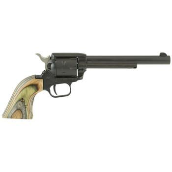 "Heritage Rough Rider, Single Action Revolver, 22LR/22WMR, 6.5"" Barrel, Alloy Frame, Black Satin Finish, Green Camo Grips, 6Rd RR22MBS6, UPC :727962506318"
