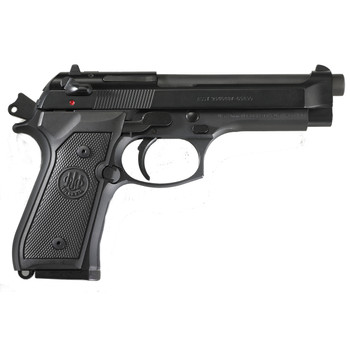 """Beretta M9, Double Action, Full Size, 9MM, 4.9"""" Barrel, Alloy Frame, Matte Black Finish, Polymer Grips, Ambidextrous Safety, 3 Dot Sights, 2 Magazines, 10 Rounds J92M9A0, UPC : 082442816838"""
