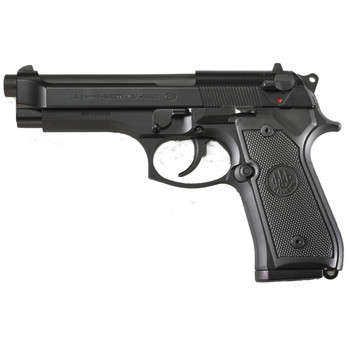 "Beretta M9, Double Action, Full Size, 9MM, 4.9"" Barrel, Alloy Frame, Matte Black Finish, Polymer Grips, Ambidextrous Safety, 3 Dot Sights, 2 Magazines, 10 Rounds J92M9A0, UPC : 082442816838"
