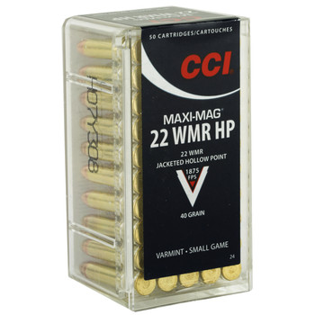 CCI/Speer Maxi-Mag, 22WMR, 40 Grain, Jacketed Hollow Point, 50 Round Box 24, UPC : 076683000248