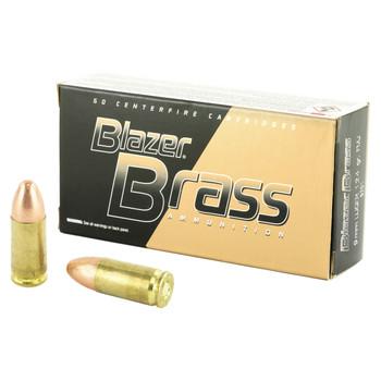 CCI/Speer Blazer Brass, 9MM, 124 Grain, Full Metal Jacket, 50 Round Box 5201, UPC : 076683052018