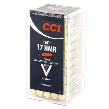 CCI/Speer TNT, 17 HMR, 17 Grain, Jacketed Hollow Point, 50 Round Box 53, UPC : 076683000538