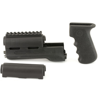 Hogue Grips OverMolded Rifle Grip/Forend Kit, Fits AK-47/AK-74, Finger Grooves, Rubber, Black 74008, UPC :743108740088