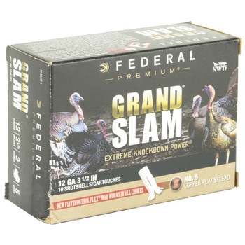 "Federal Grand Slam, 12 Gauge, 2.75"", #5, 1.5 oz, Flight Control, 10 Round Box PFCX156F 5, UPC :604544628098"