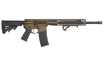 "LWRC Direct Impingement Rifle, Semi-automatic Rifle, 223 Rem/556NATO, 16.1"" Cold Hammer Forged Spiral Fluted Barrel, 1:7 Twist, Burnt Bronze Finish, LWRCI Compact Stock, Magpul MOE+ Grip, 30Rd, LWRCI Modular Free Float Rail, LWRCI Rail Panels, LWRCI"