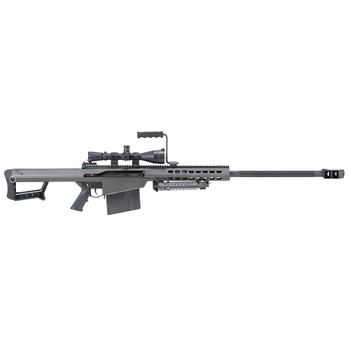 """Barrett 82A1, Semi-automatic, 50BMG, 29"""" Fluted Barrel, Black Finish, Synthetic Stock, 10Rd, Kit with Mono Pod, 1 Magazine, Carry Case, Leupold MK4, 4.5x14, Mil-dot Reticle, M1 Turrets With .25MOA Adjustments, Scope Rings 13317, UPC :816715010018"""