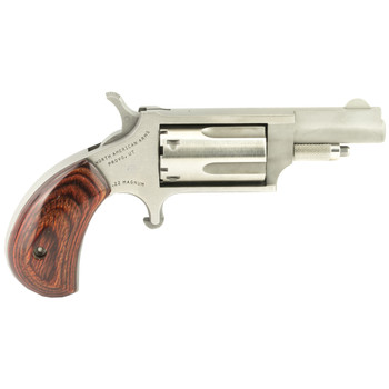 """North American Arms Mini Revolver, Single Action, 22LR/22WMR, 1.625"""" Barrel, Steel Frame, Stainless Finish, Wood Grips, Fixed Sights, 5Rd NAA-22MC, UPC :744253000188"""