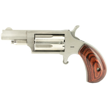 "North American Arms Mini Revolver, Single Action, 22LR/22WMR, 1.625"" Barrel, Steel Frame, Stainless Finish, Wood Grips, Fixed Sights, 5Rd NAA-22MC, UPC :744253000188"