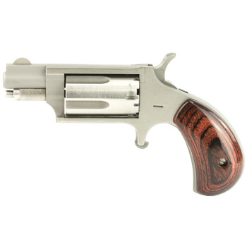 "North American Arms Mini Revolver, Single Action, 22WMR, 1.125"" Barrel, Steel Frame, Stainless Finish, Wood Grips, Fixed Sights, 5Rd NAA-22MS, UPC :744253000218"