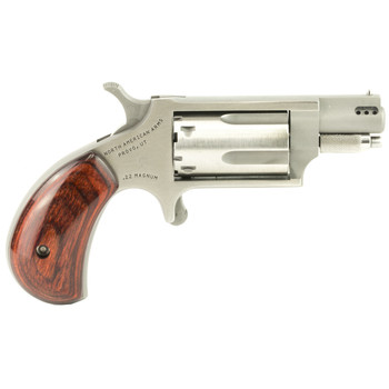 """North American Arms Ported Snub, Single Action, Micro Compact, 22LR/22WMR, 1.125"""" Barrel, Stainless Steel Frame, Wood Grips, 5Rd NAA-22MSC-P, UPC :744253002168"""