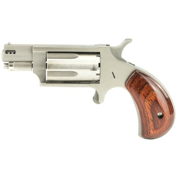 "North American Arms Ported Snub, Single Action, Micro Compact, 22LR/22WMR, 1.125"" Barrel, Stainless Steel Frame, Wood Grips, 5Rd NAA-22MSC-P, UPC :744253002168"
