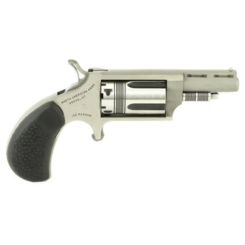 """North American Arms The Wasp, Single Action, 22WMR, 1.625"""" Barrel, Steel Frame, Stainless Finish, Rubber Grips, Fixed Sights, 5Rd NAA-22M-TW, UPC :744253002298"""
