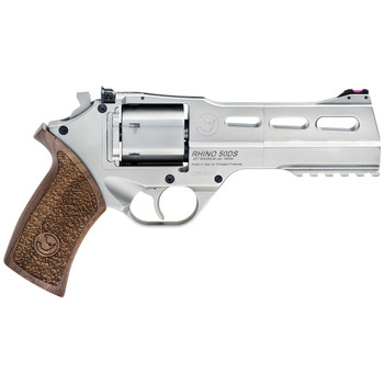 """Chiappa Firearms Rhino 50DS, Revolver, Double/Single Action, 357 Magnum/38 Special, 5"""" Barrel, Alloy Frame, Walnut Grips, 6Rd, Nickel Finish, 3 Moon Clips, Adjustable Rear Sight and Fiber Optic Front 340-223, UPC :8053670712188"""