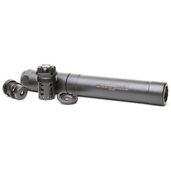 Griffin Armament Optimus, Modular Suppressor, All rimfire, 9mm (short config. only),5.56, 300 Win, Black Finish, Stainless Construction, Includes Booster Assembly, Taper Mount, Taper Ext, Caps GAOPT, UPC :791154081068