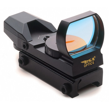 BSA Optics Panoramic Multi-Purpose Sighting System, Multi Dot, Black, Panoramic Sight w/ Weaver Style Mount, 7-position rheostat adjustments for brightness, Multiple Reticles PMRGS, UPC :631618111088