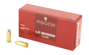 Fiocchi Ammunition Centerfire Pistol, 25ACP, 50 Grain, Full Metal Jacket, 50 Round Box 25AP, UPC :762344001418