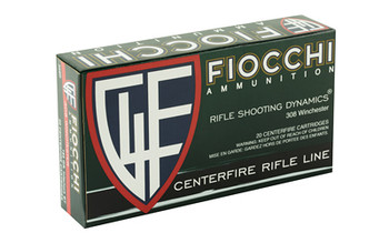Fiocchi Ammunition Rifle, 308WIN, 165 Grain, InterLock Boat Tail Soft Point, 20 Round Box 308D, UPC :762344710358