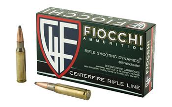 Fiocchi Ammunition Rifle, 308WIN, 165 Grain, InterLock Boat Tail Soft Point, 20 Round Box 308D, UPC :762344710358