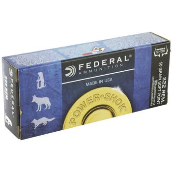 Federal PowerShok, 222REM, 50 Grain, Soft Point, 20 Round Box 222A, UPC : 029465084158