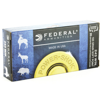 Federal PowerShok, 243WIN, 100 Grain, Soft Point, 20 Round Box 243B, UPC : 029465084288