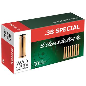 Sellier & Bellot Pistol, 38 Special, 148 Grain, Wadcutter, 50 Round Box SB38B, UPC :754908500178