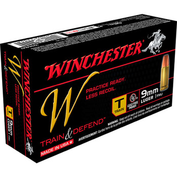 Winchester Ammunition W - Train  Defend, 9MM, 147 Grain, Full Metal Jacket, Low Recoil, 50 Round Box W9MMT, UPC : 020892220478