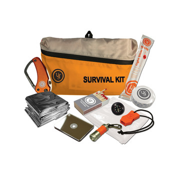 UST - Ultimate Survival Technologies Featherlite Survival Kit 2.0, Includes Compass, Emergency Blanket, Poncho, Whistle, Knife, Light Stick, LR41, Mirror, Matches, Orange Finish 20-723-01, UPC :811747021728