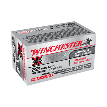 Winchester Ammunition Super-X, 22 WMR, 40 Grain, Jacketed Hollow Point, 50 Round Box X22MH, UPC : 020892100718