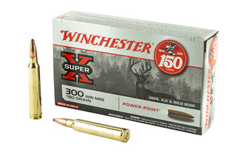 Winchester Ammunition Super-X, 300 WIN MAG, 180 Grain, Power Point, 20 Round Box X30WM2, UPC : 020892200388
